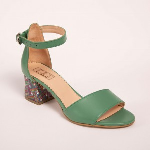 Green sandals with low heel